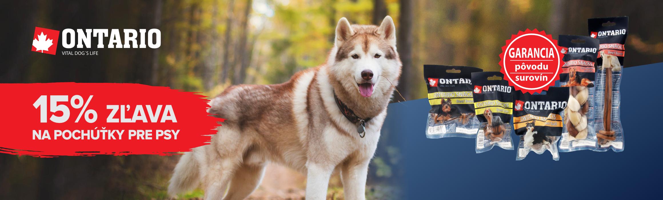 ONTARIO 15% zľava na pochúťky pre psy
